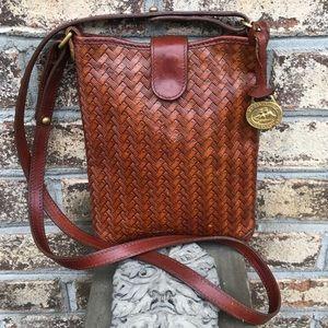 Vintage Brahmin Brown Leather Weave Crossbody Bag